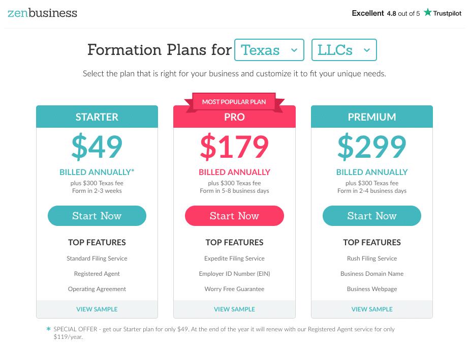 ZenBusiness LLC Formation Plans